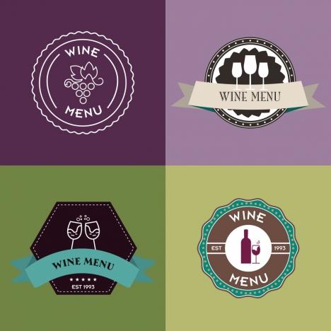 wine logo sets various circle styles flat decoration