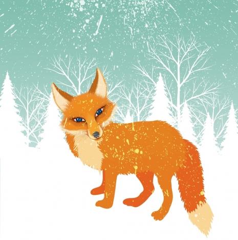 winter background orange fox snowy backdrop cartoon style