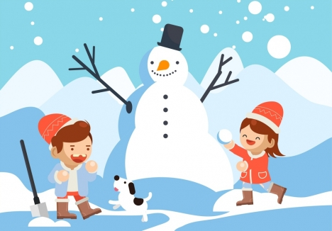 winter background playful children snowman icons cartoon characters