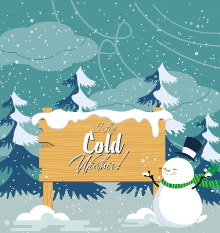 winter background snow stylized snowman icons colored cartoon