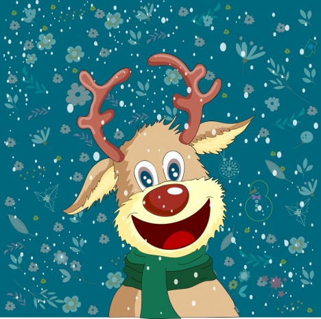 winter background stylized reindeer icons cartoon character