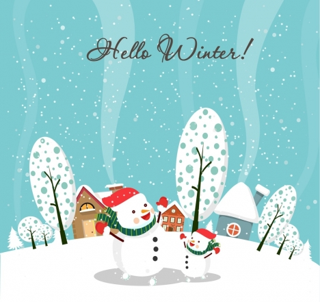 winter background white snowmen and snow falling design