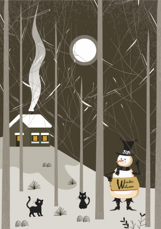 winter banner stylized snowman moonlight leafless trees icons