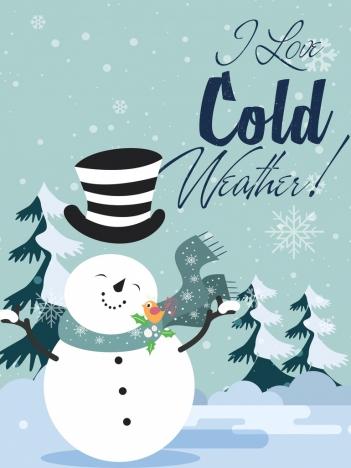 winter card template snowman icon cute design vectors stock in