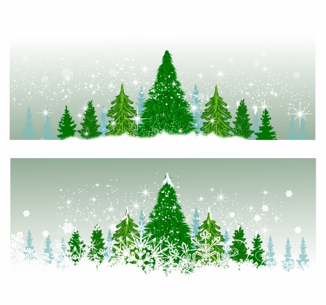 Winter Christmas Trees Vectors Stock In Format For Free Download 23 25mb