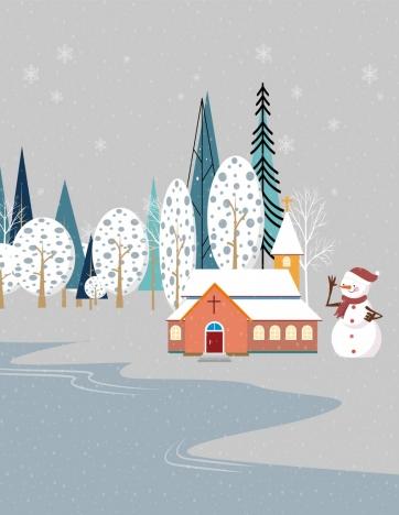 winter drawing snowman church tree icons decor