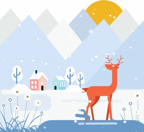 winter painting mountain snow reindeer icons flat design