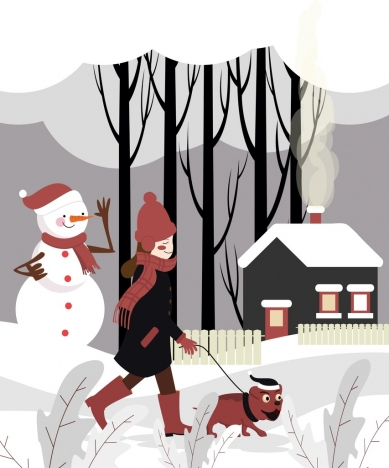 winter scene painting walking girl snow house icons