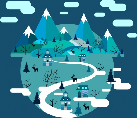 winter scenery background mountain village decoration circle design