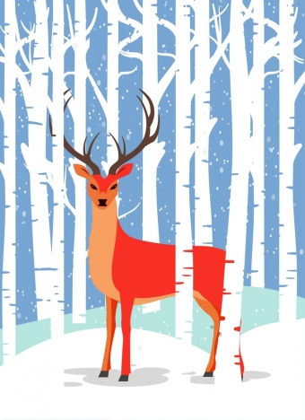 winter wildlife drawing red reindeer white trees icons