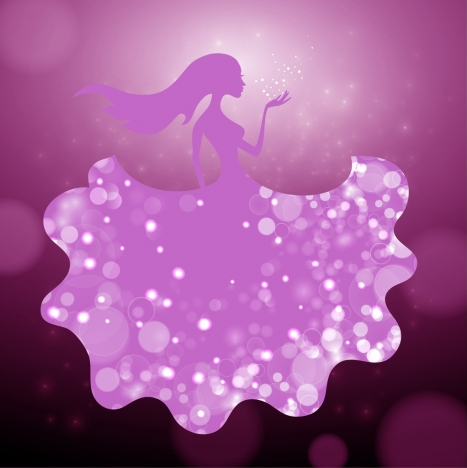 womam background violet silhouette bokeh decoration