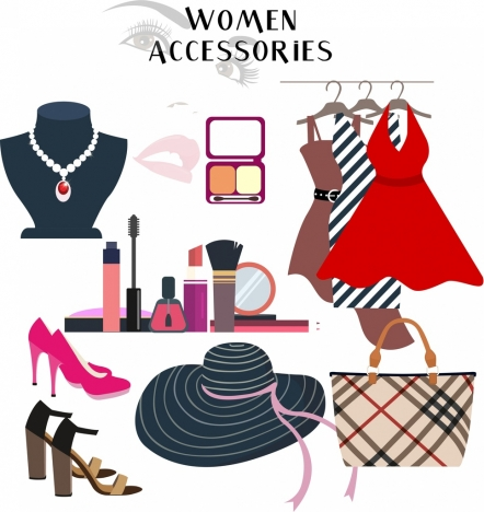woman accessories icons colorful objects design