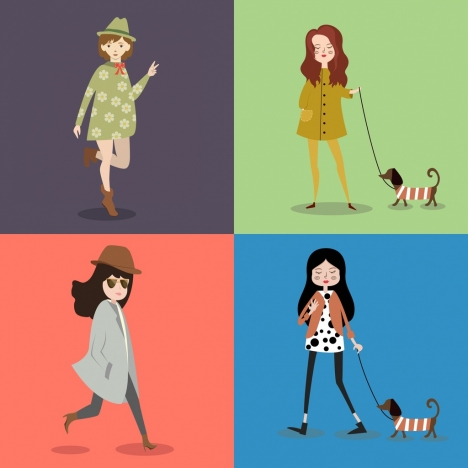 woman fashion icons collection colored cartoon design