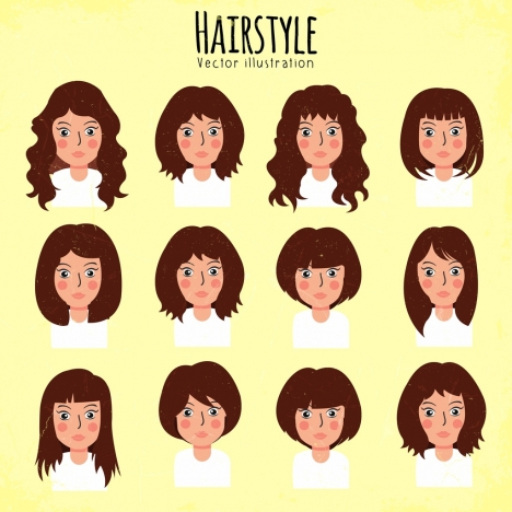 woman hairstyle collection young style portrait design
