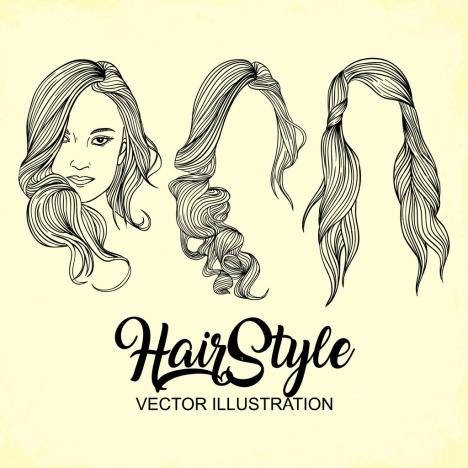 woman hairstyle design handdrawn sketch