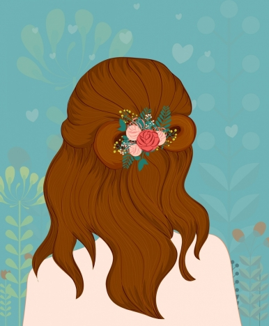 woman hairstyle drawing multicolored cartoon decor