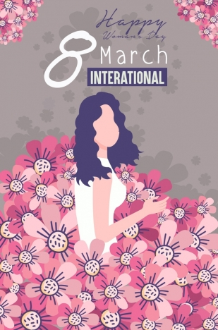 women day banner flowers decor classical design