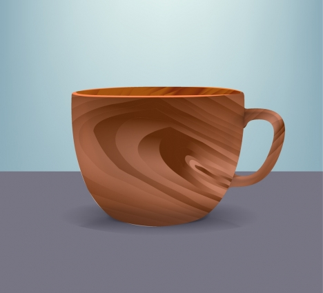 wooden cup icon colored 3d design