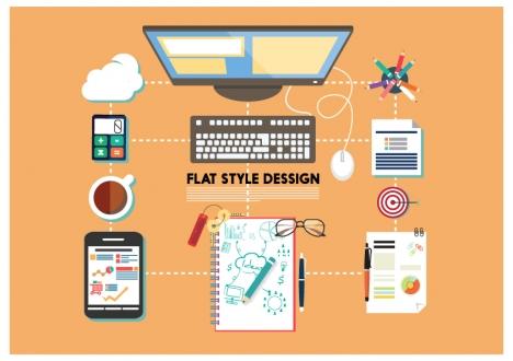 working desk flat design with tools illustration