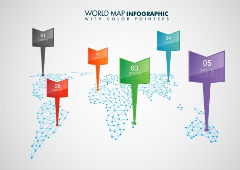 World map infographic template colorful pointers continental world map infographic template colorful pointers continental decoration gumiabroncs Image collections