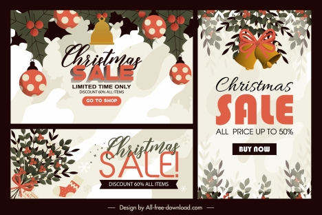 xmas sales posters classical baubles decor