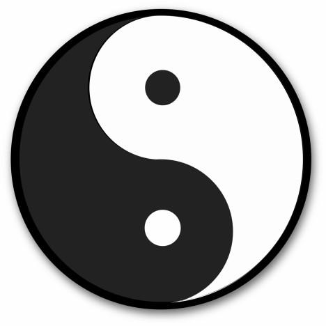 yin yang symbol black round sticker