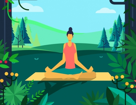 yoga background relaxed woman nature scene cartoon design