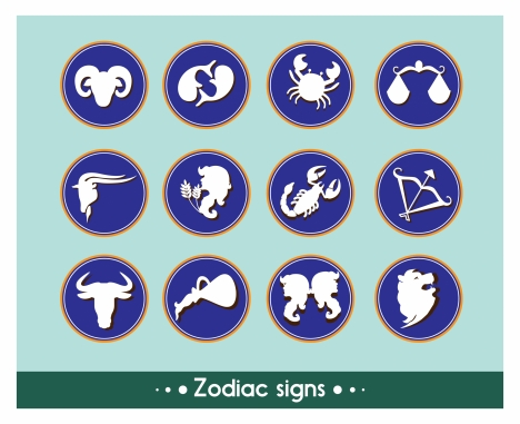 zodiac signs collection with flat buttons illustration