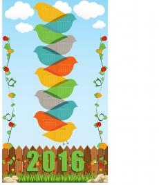 2016 calendar bird and flower spring