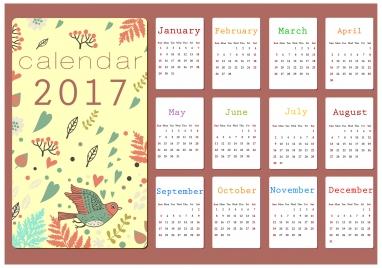 2017 calendar design with cartoon background style