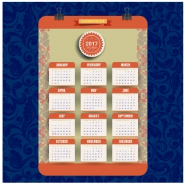 2017 calendar design with traditional style