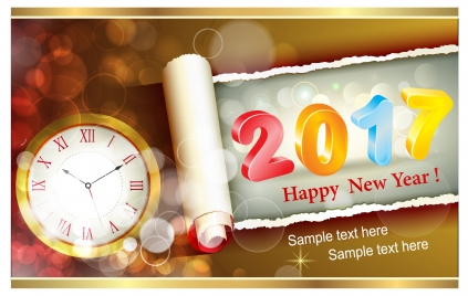 2017 card design with clock and bokeh background
