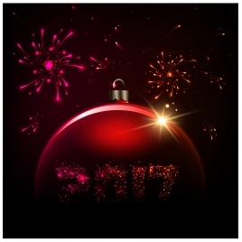 2017 card template illustration with fireworks and bauble