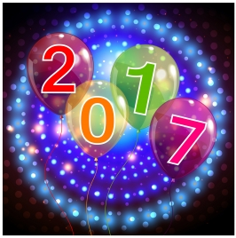 2017 new year background with balloons and fireworks