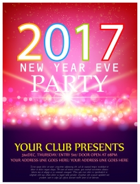2017 new year banner design with bokeh background