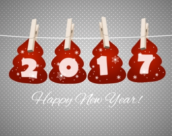 2017 new year card with hanging numbers design