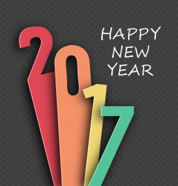 2017 new year template design with lenghthened numbers