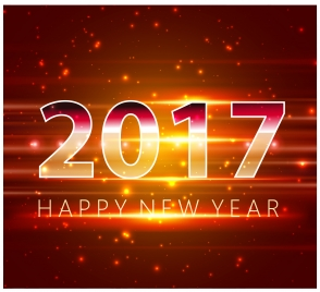 2017 new year template design with sparkling light
