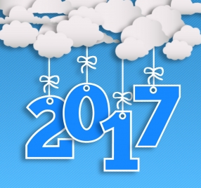 2017 new year template with cloud and numbers