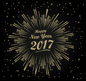 2017 new year template with fireworks design