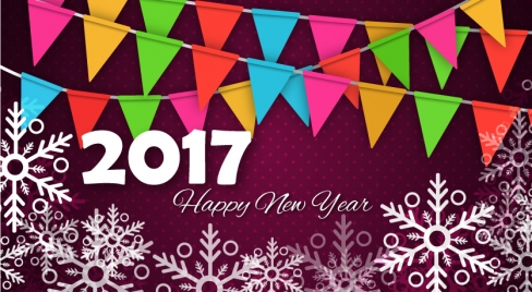2017 new year template with snowflakes and flags