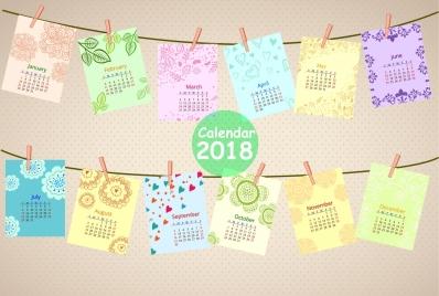 2018 calendar design clip hanging paper icons decoration