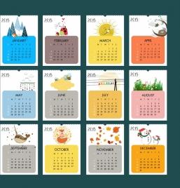 2018 calendar design elements natural wild life icons