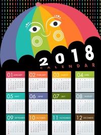 2018 calendar design stylized colorful umbrella icon