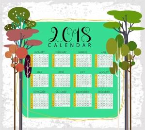 2018 calendar template tree icons decoration