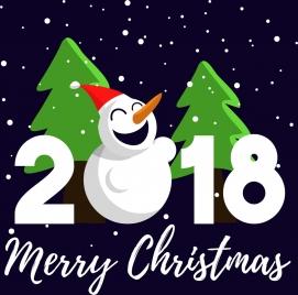 2018 christmas poster snowman fir tree icons ornament