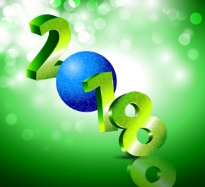 2018 new year background 3d number bokeh green