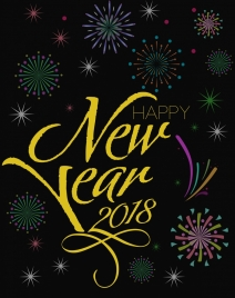 2018 new year background sparkling fireworks decoration