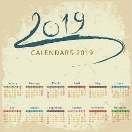 2019 calendar background grungy retro design