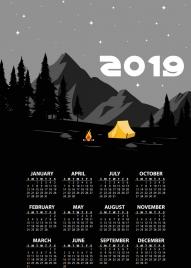 2019 calendar background mountain camp theme dark design